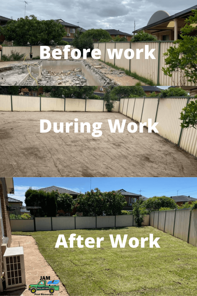 Concrete Pool Removals Before & Afetr