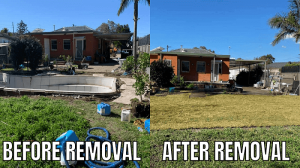Before and After Fiberglass pool removals